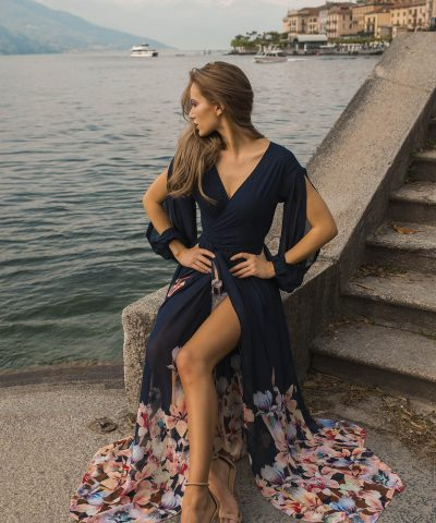 Navy Wrap Over Maxi Wedding Guest Dress